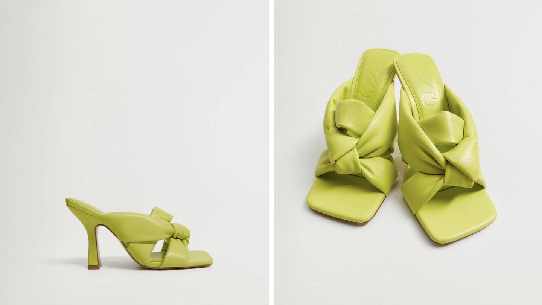 Zapatos de tacón neón de Mango. (Cortesía)