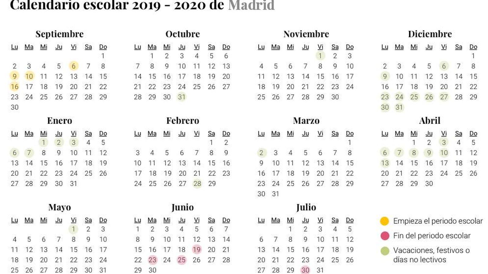 Calendario Laboral Madrid 2020 Excel.Calendario Escolar 2019 2020 Cuando Es La Vuelta Al Cole