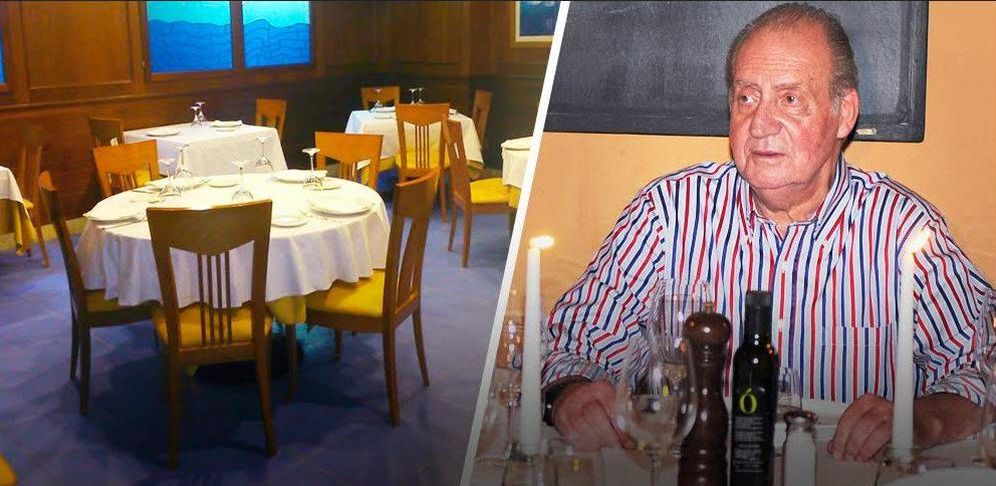 Foto: Don Juan Carlos y el restaurante Marlima en un fotomontaje de Vanitatis.