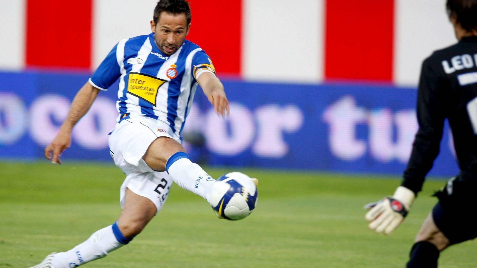 Foto: Tamudo en acción durante un partido con el Espanyol (EFE)