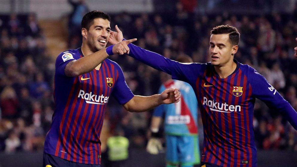 Luis Suárez ocupa el vacío de Messi que Coutinho no ayuda a llenar
