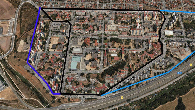 El trazado de la localidad barcelonesa de Badia del Vallès, que replica el mapa de España. (Google / Raquel Cano)