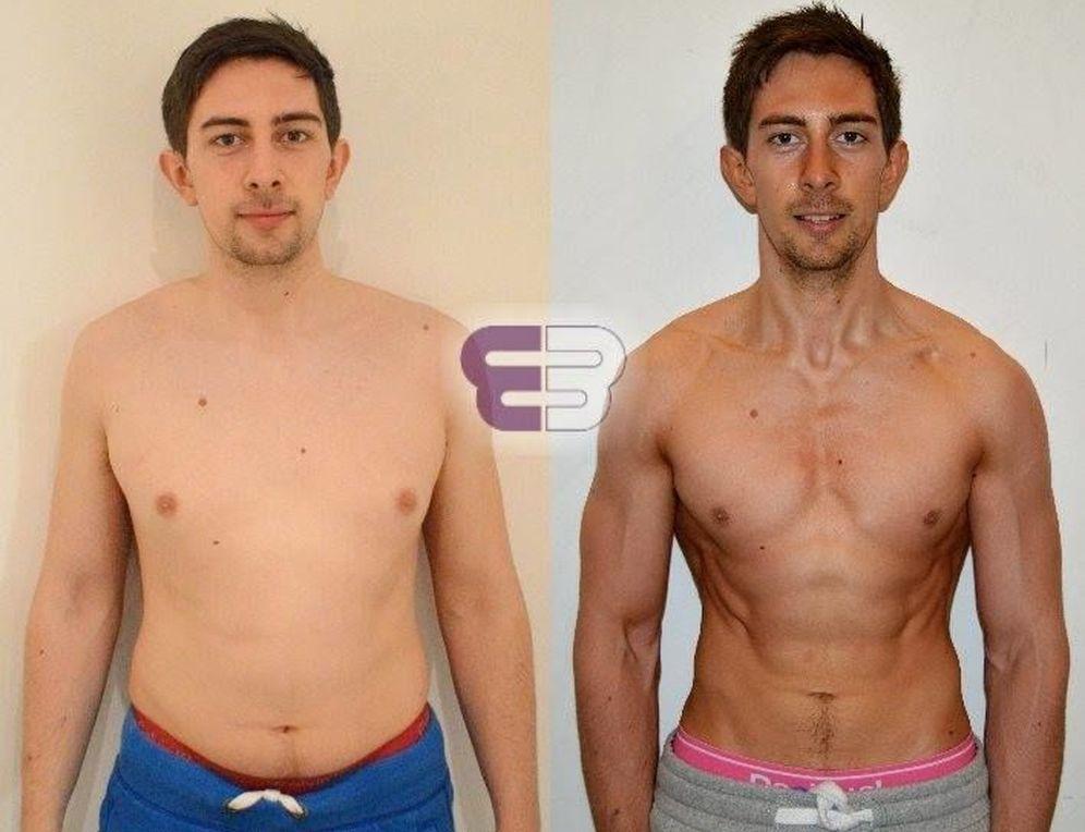 Foto: Matt antes y después de su estricto pero efectivo programa. (Embody Fitness)
