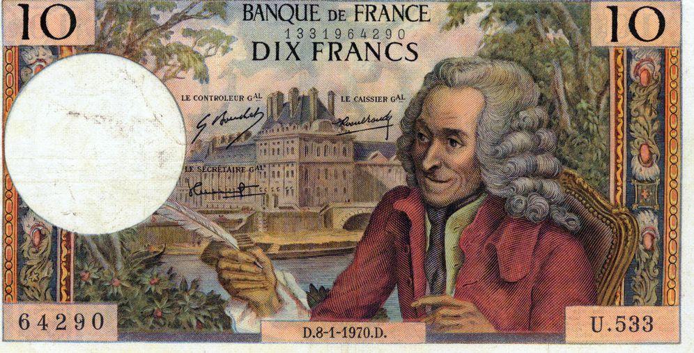 Foto: Homenaje a Voltaire en un billete bancario francés de la segunda mitad del siglo XX.