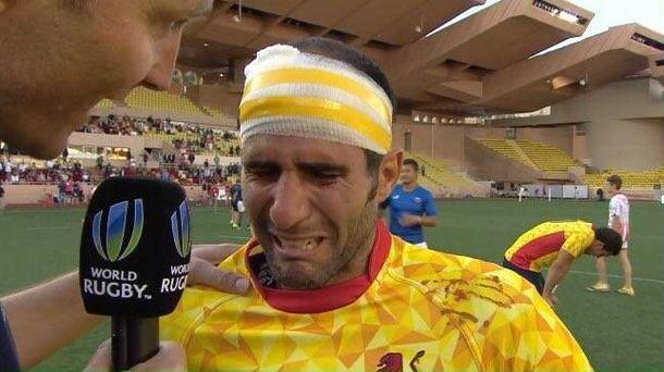 Foto: Pablo Feijóo, emocionado al término del partido en Mónaco.