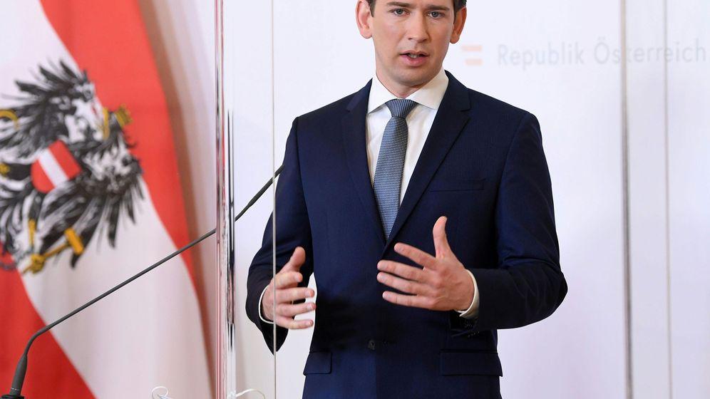 Foto: El canciller austriaco Sebastian Kuz, esta mañana en rueda de prensa (REUTERS)
