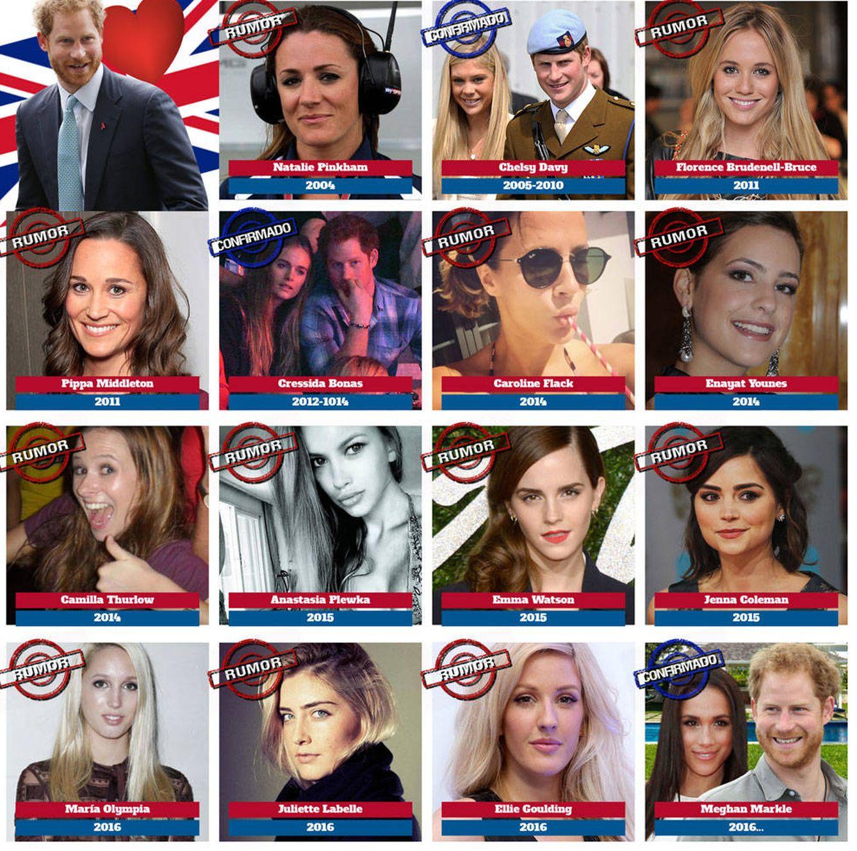 Foto: Las quince novias del príncipe Harry.