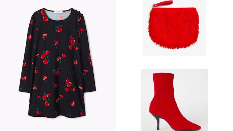Dos tendencias de la temporada en este outfit: flores y rojo.