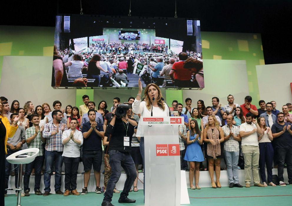 Foto: Susana Díaz, durante su intervención de hoy en Sevilla. (EFE)