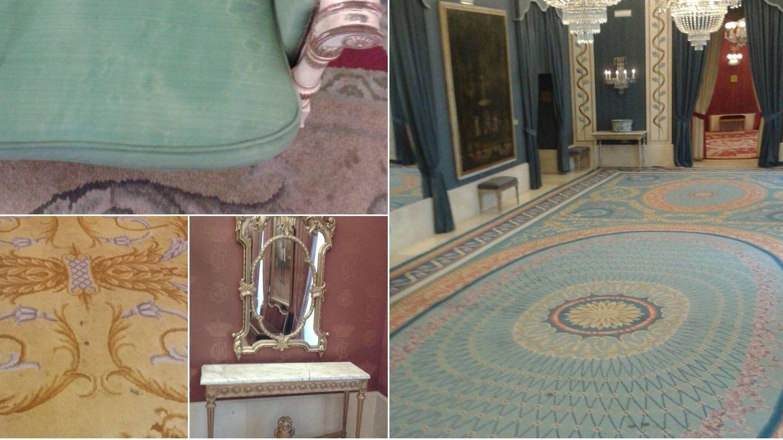 Las imponentes alfombras de los salones del Teatro Real están salpicadas de lamparones.