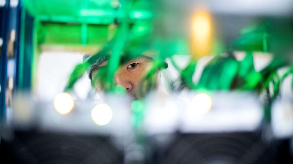 Foto: Un trabajador mira a través de los cables de una granja de criptomonedas. (Reuters)
