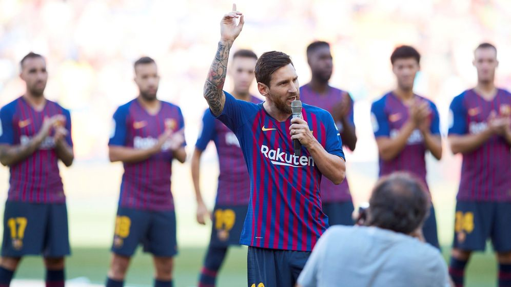 Foto: Messi dio su primer discurso como capitán. (EFE)