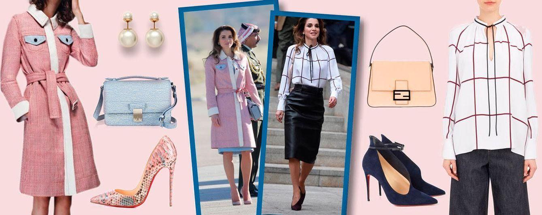 Foto: Fotomontaje realizado por Vanitatis en el que aparecen algunas de las prendas lucidas por Rania