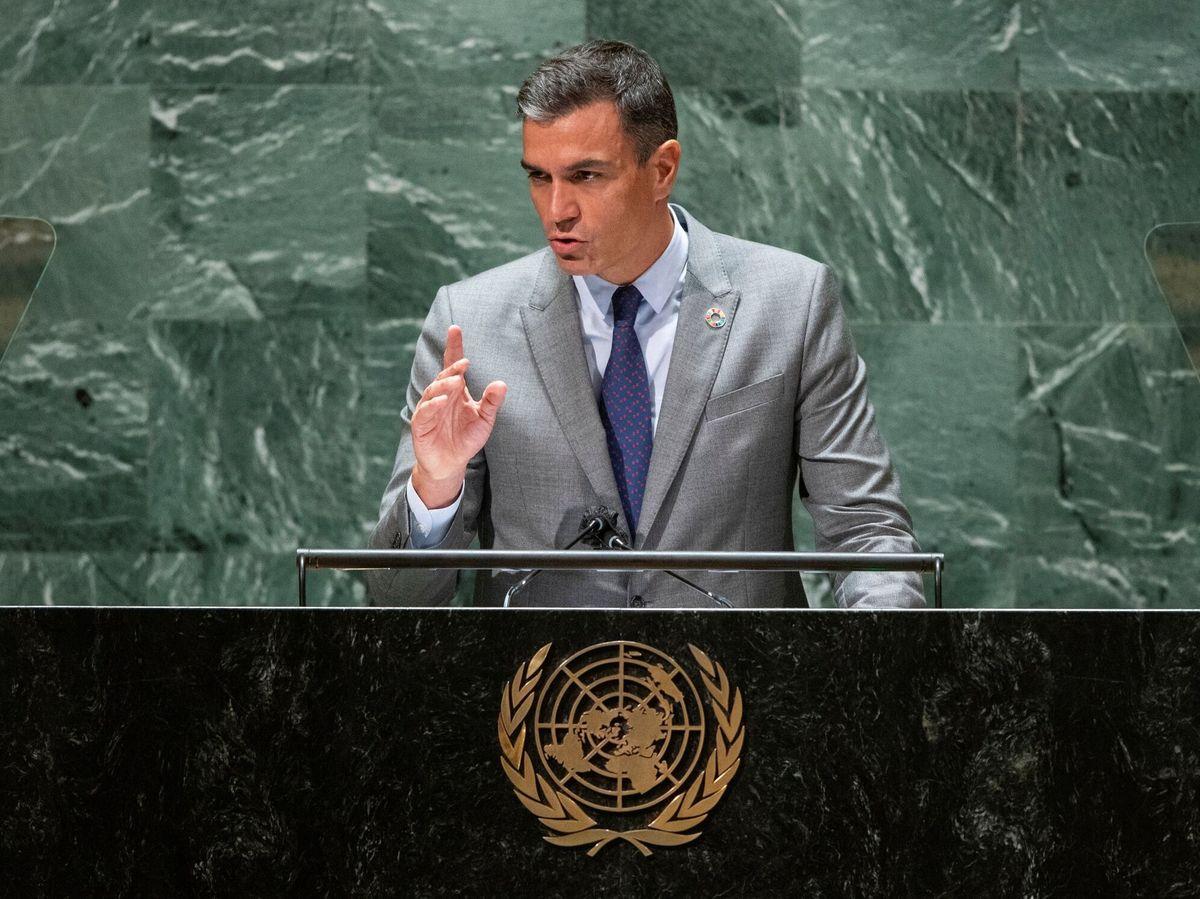 Foto: Sánchez, durante su intervención en la ONU. (EFE)