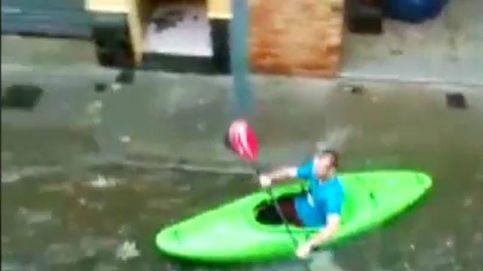 Piragüismo en las calles de Gerona: las fuertes lluvias dejan imágenes impactantes