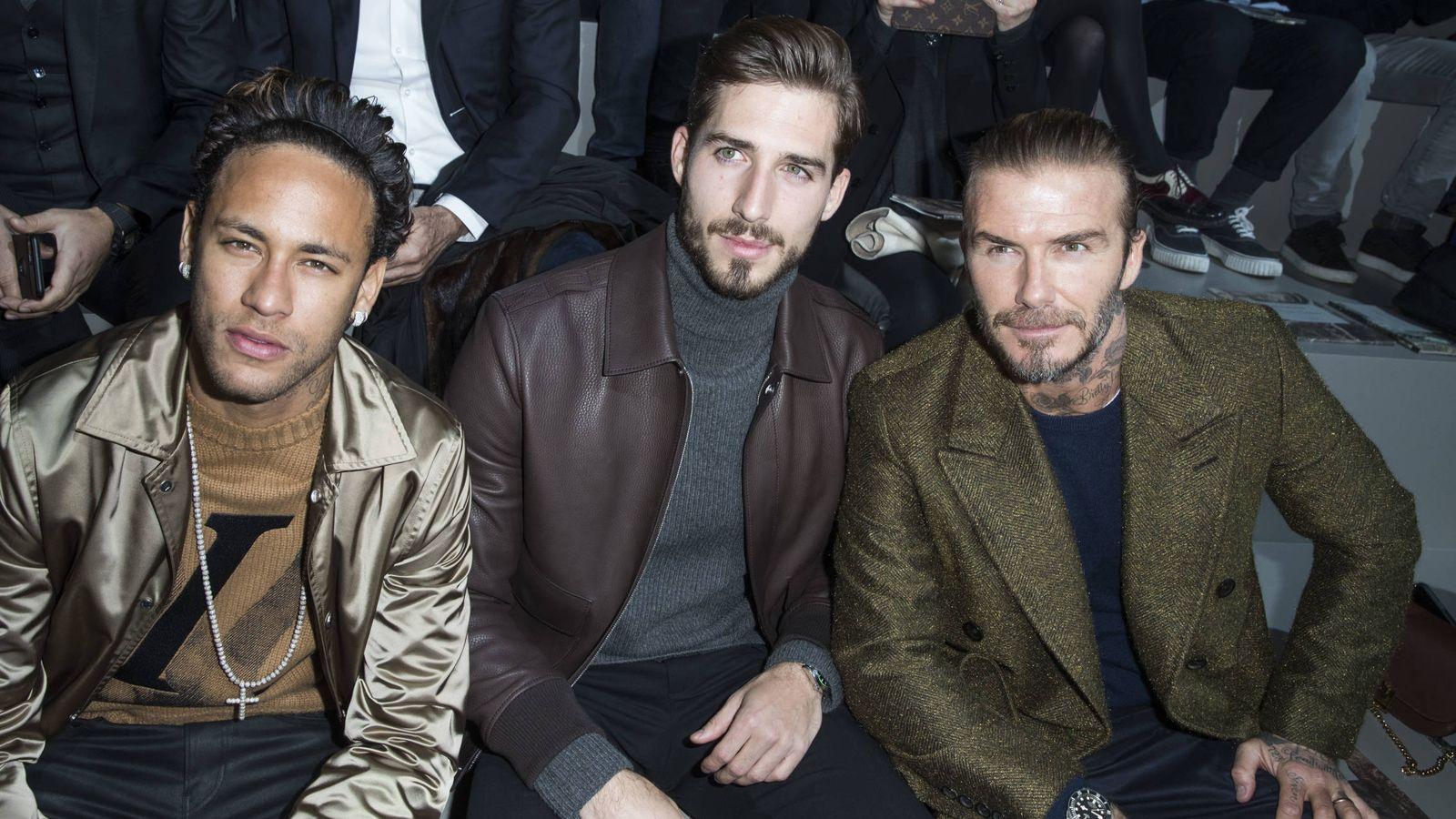 Foto:  Neymar y Beckham, extravagancia frente a elegancia. (Gtres)