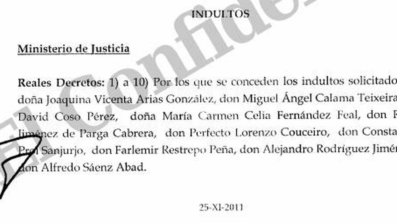 Pulse en la imagen para leer el acta del Consejo de Ministros con el indulto al banquero Alfredo Sáenz.