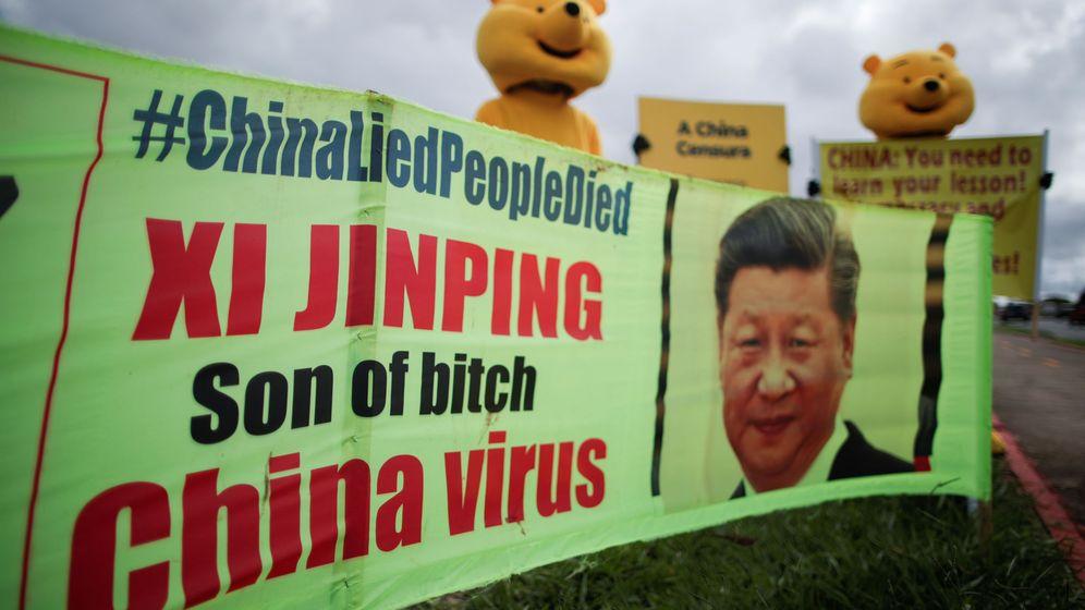Foto: Manifestantes contra el Gobierno chino en Brasil, el pasado 27 de marzo. (Reuters)