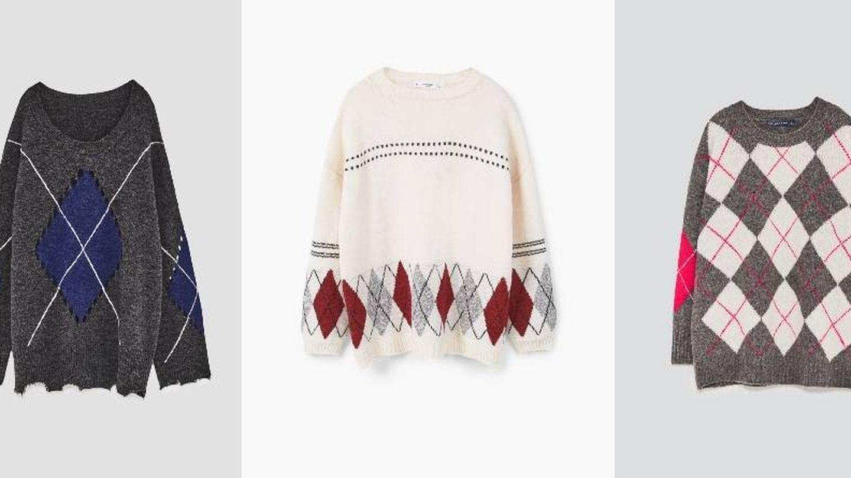 Jerseys de rombos de Zara (12'95) y Mango (central, 19'90 euros).