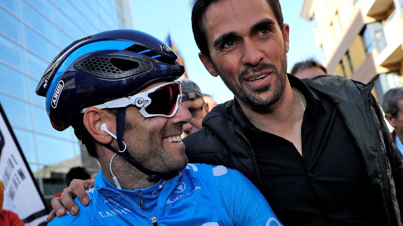 Contador (d) aquí con Valverde, es consciente de la calidad de Mas. (EFE)