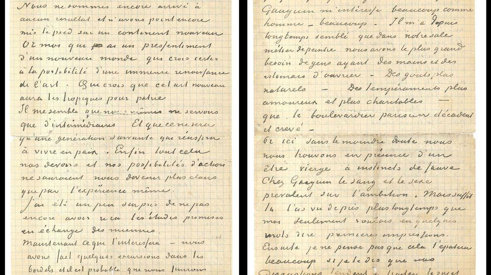 Foto: La carta conjunta enviada en noviembre de 1888 por Vincent Van Gogh y Paul Gauguin. (EFE)