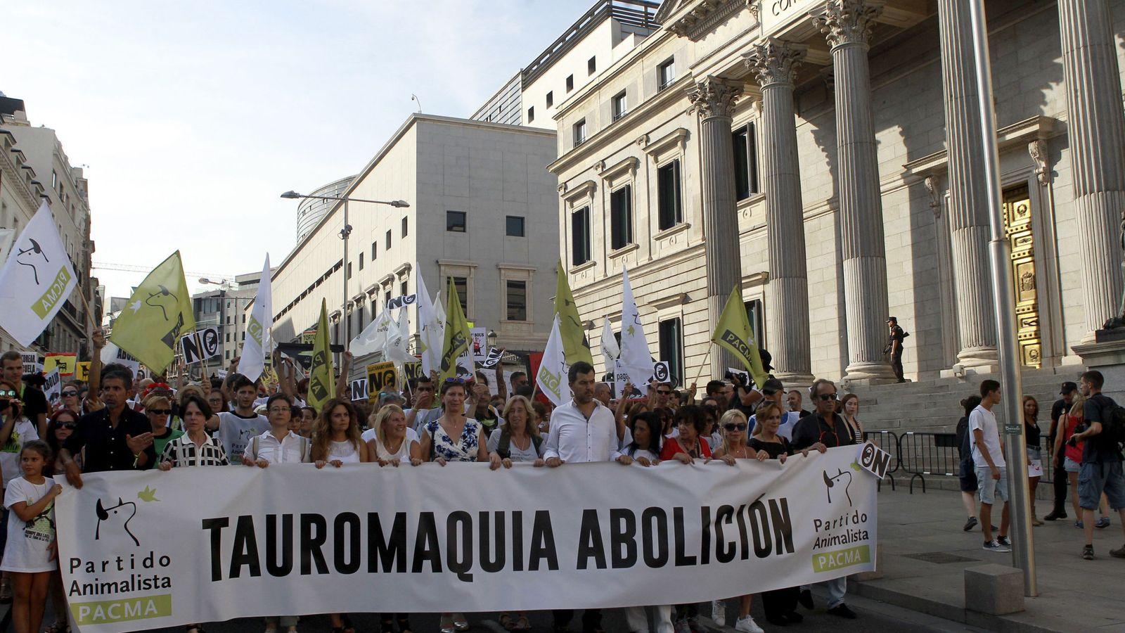 Foto: Manifestación del Pacma contra los festejos taurinos. (EFE)