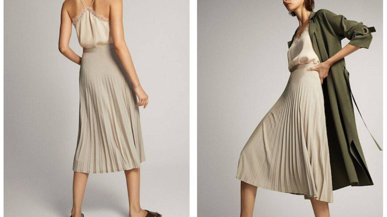 En color beige muy claro, así es esta falda plisada de Massimo Dutti (Cortesía)
