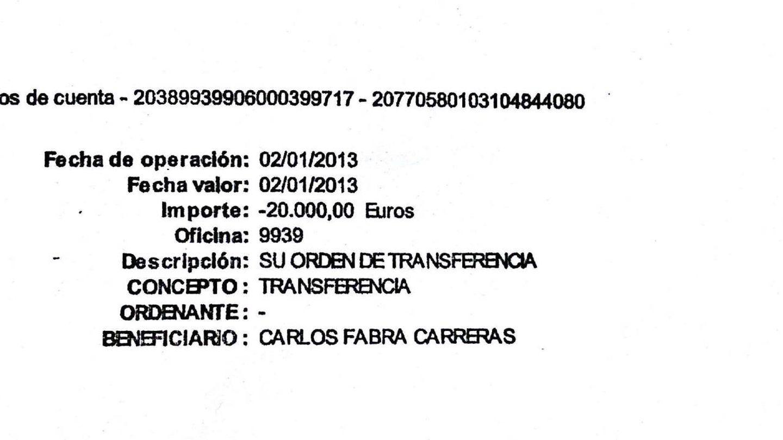 Una de las trasferencias a Carlos Fabra, de enero de 2013, por importe de 20.000 euros.