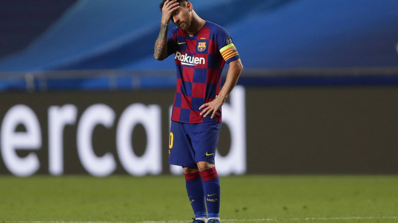 Leo Messi, tras perder 2-8 contra el Bayern de Múnich. (Getty)