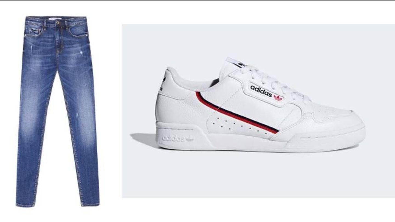 Jeans de Stradivarius (19,99 euros) y zapatillas Adidas Continental (99,95 euros).