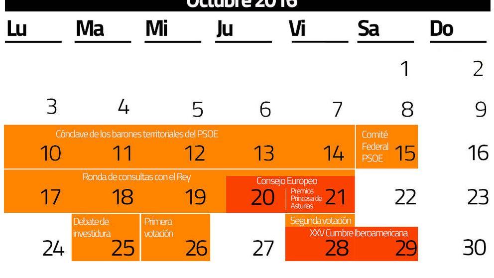 El PSOE decide, la agenda exterior del Rey...  calendario para investir a Rajoy