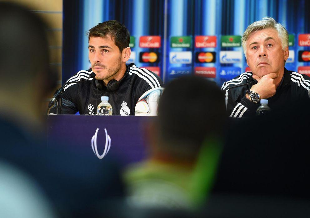 Foto: Casillas y Ancelotti en la rueda de prensa previa a la final de la Supercopa (EFE)