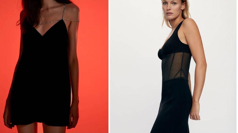 Vestido negro de fiesta de Zara. (Cortesía)