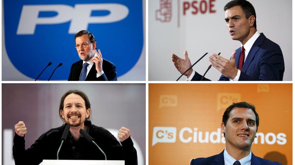 Foto: Los principales líderes: Mariano Rajoy (PP), Pedro Sánchez (PSOE), Pablo Iglesias (Podemos) y Albert Rivera (Ciudadanos). (Reuters)