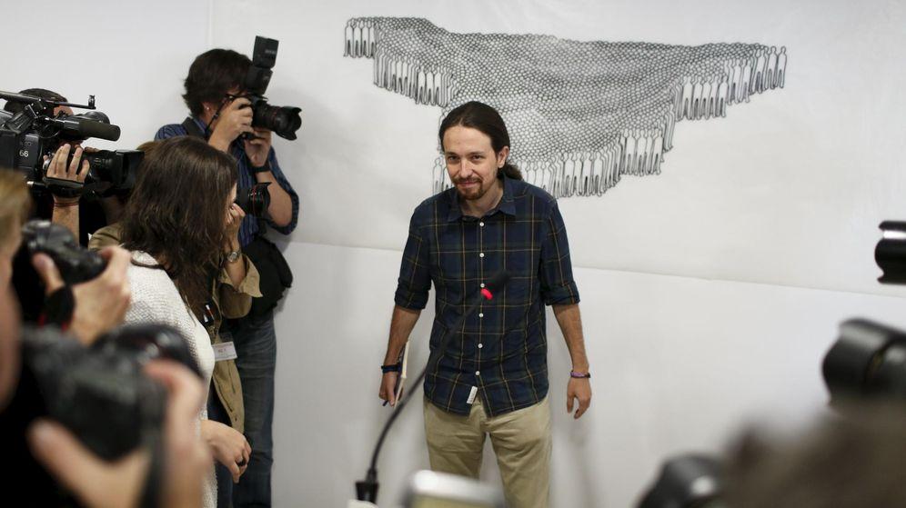 Foto: Pablo Iglesias, ayer, en la sede de Podemos. (Reuters)