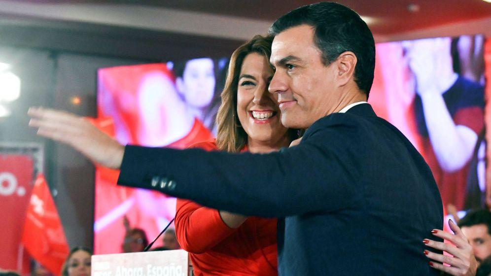 Foto: El presidente del Gobierno en funciones y candidato a la reelección por el PSOE, Pedro Sánchez, junto a la secretaria general del PSOE-A, Susana Díaz. (EFE)