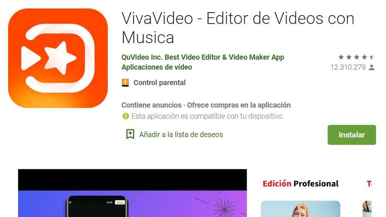 La ficha técnica de la 'app' Viva Video en Google Play