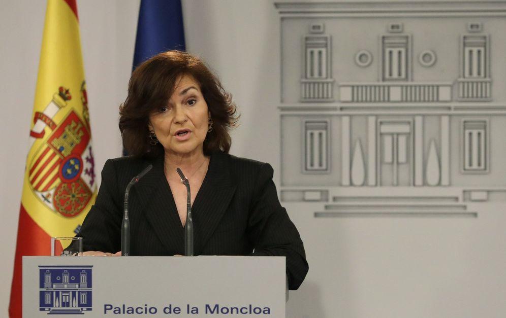 Foto: Carmen Calvo, vicepresidenta del Gobierno, este 9 de julio en el palacio de la Moncloa. (EFE)
