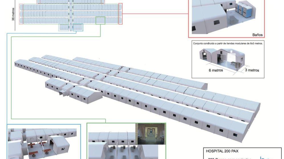 Foto: Plano de uno de los hospitales de campaña encargados por la Generalitat. (GVA)