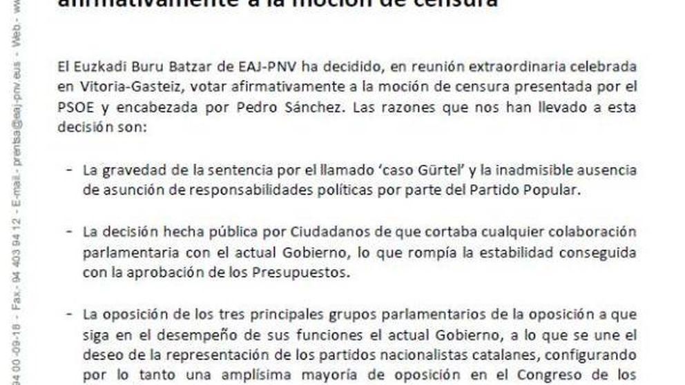 Este es el comunicado en el que el PNV explica su apoyo a la moción de censura