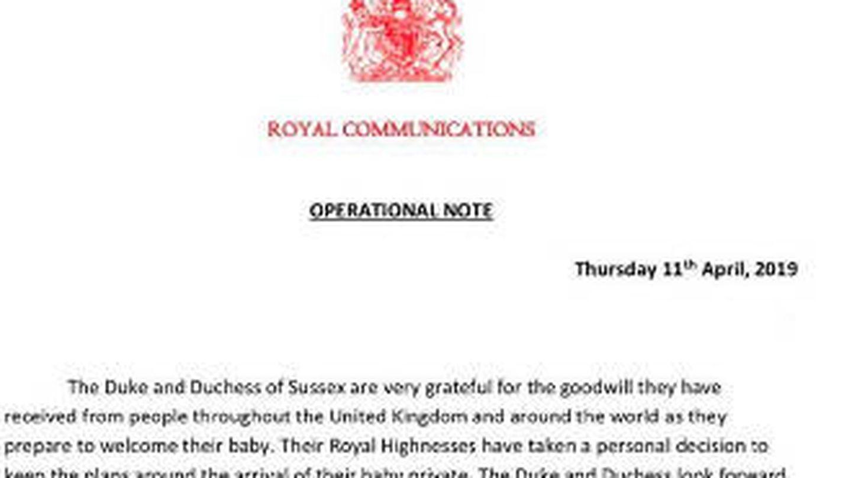 Comunicado oficial de Buckingham Palace.