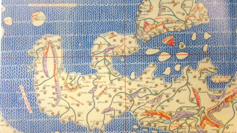 Sicilia y el sur de Italia en el atlas de Al-Idrisi.