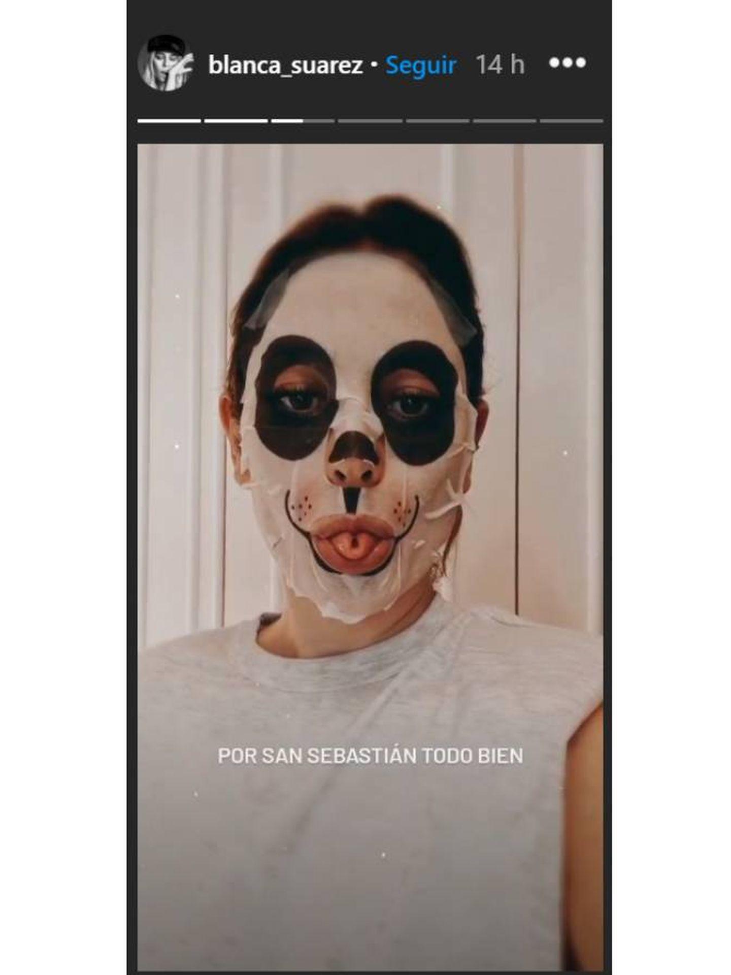 Blanca Suárez, con su mascarilla tissue antes del Festival de Cine de San Sebastián. (Instagram @blanca_suarez)