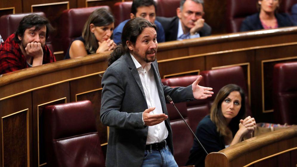 Foto: El líder de Unidas Podemos Pablo Iglesias, interviene en el pleno del Congreso este miércoles. (EFE)