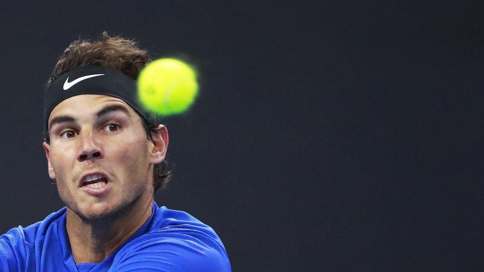 Foto: Nadal, en su partido contra Pouille. (EFE)