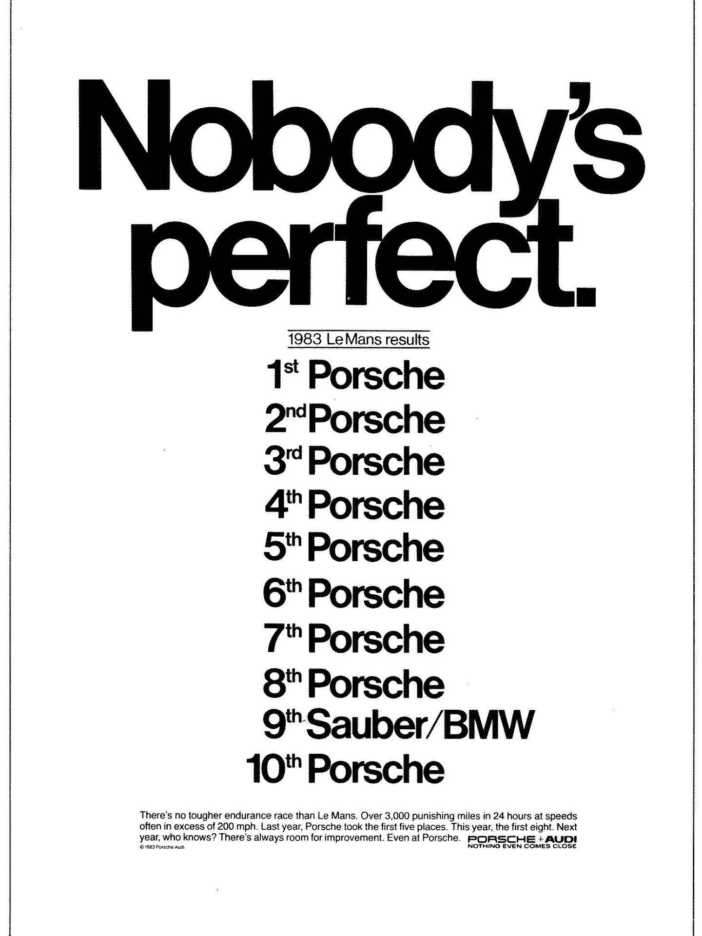 Publicidad 24 horas de Le Mans de Porsche en 1983. (Porsche)