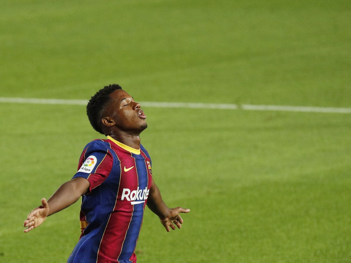 Foto: Ansu Fati, en su estreno goleador frente al Villarreal esta temporada. (Reuters)