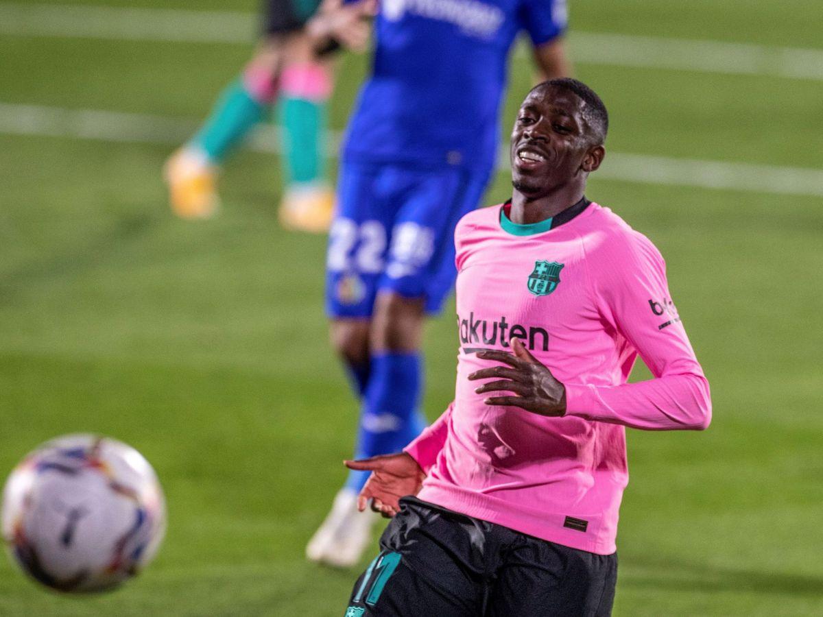 Foto: Dembélé en un partido contra el Getafe esta temporada. (EFE)
