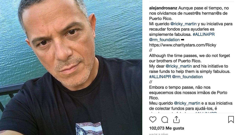 Alejandro Sanz, en una imagen de su Instagram