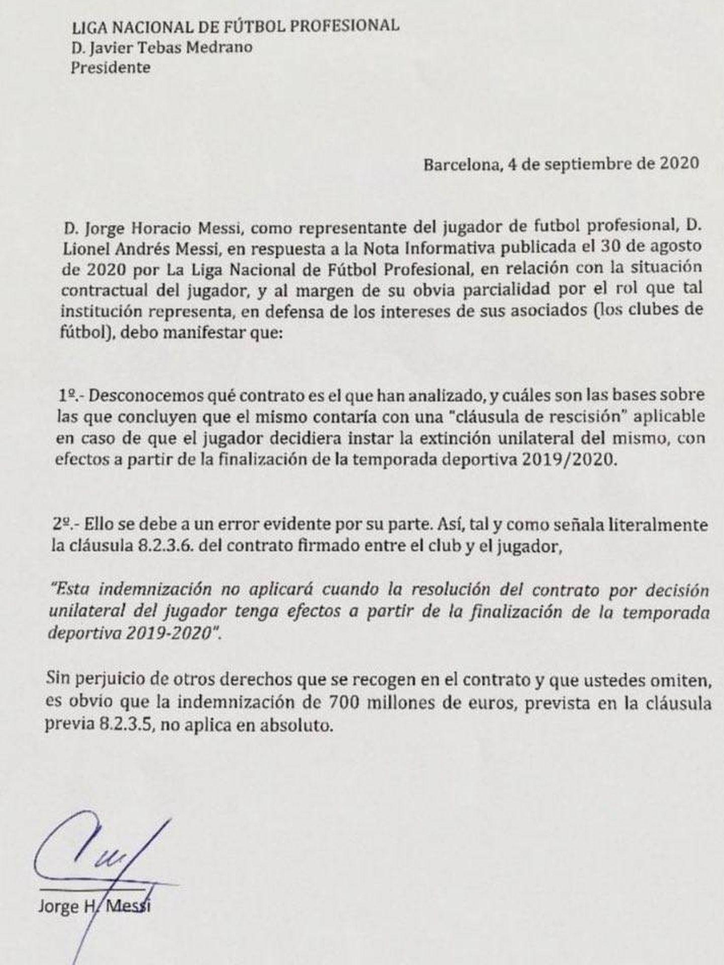 Comunicado oficial de Leo Messi a LaLiga.